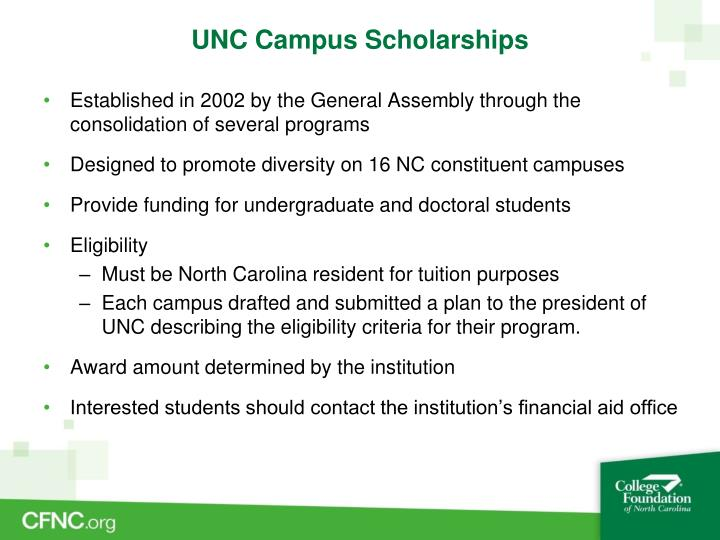 UNC Campus Scholarships
