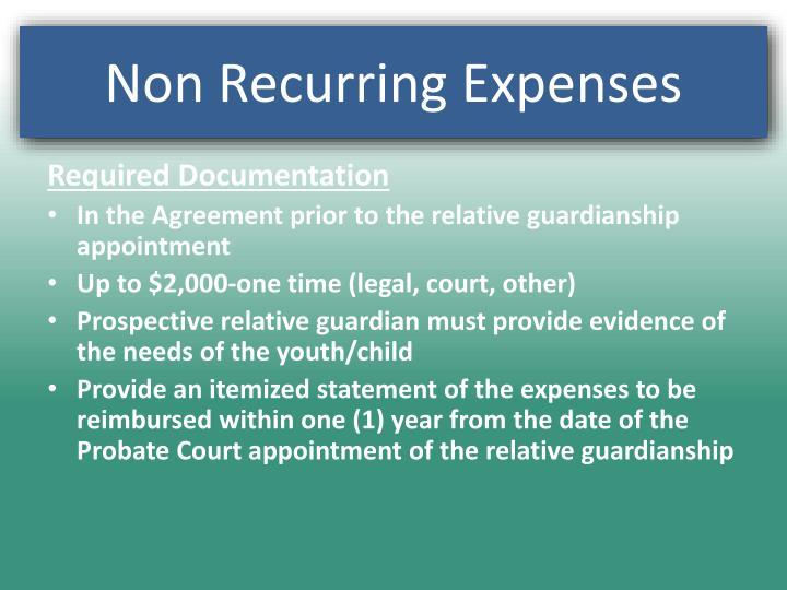 Non Recurring Expenses