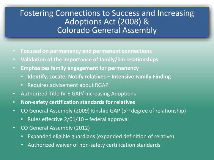 Fostering Connections to Success and Increasing Adoptions Act (2008) &