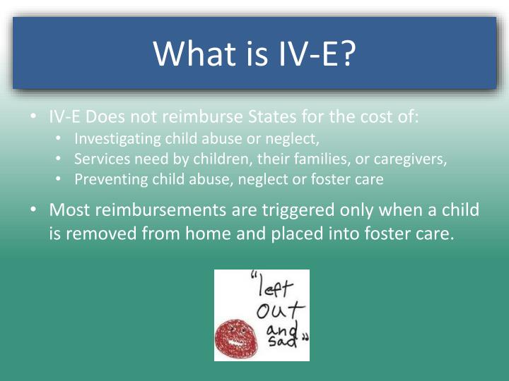 IV-E Does not reimburse States for the cost of: