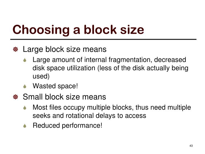 Choosing a block size