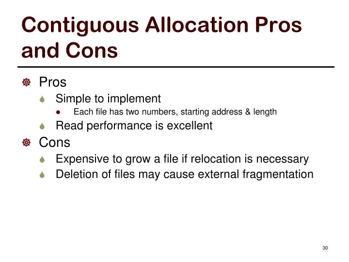 Contiguous Allocation Pros and Cons