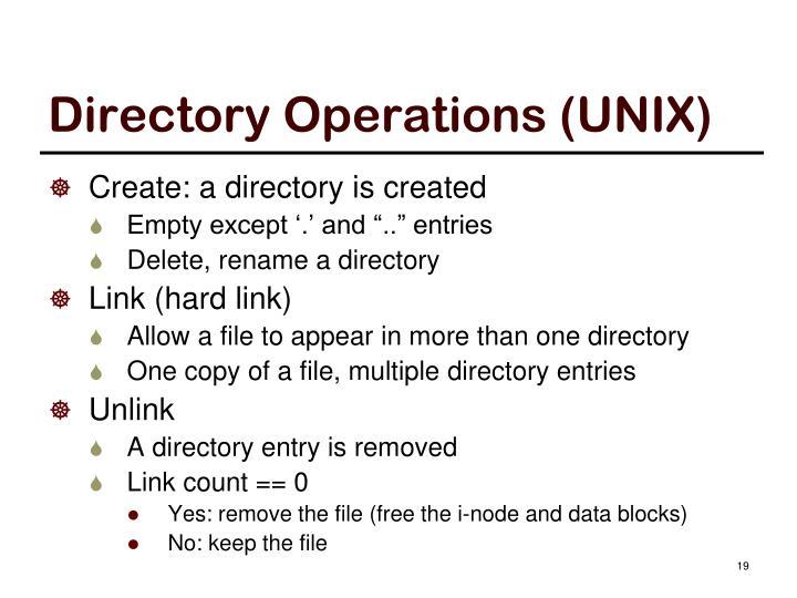 Directory Operations (UNIX)