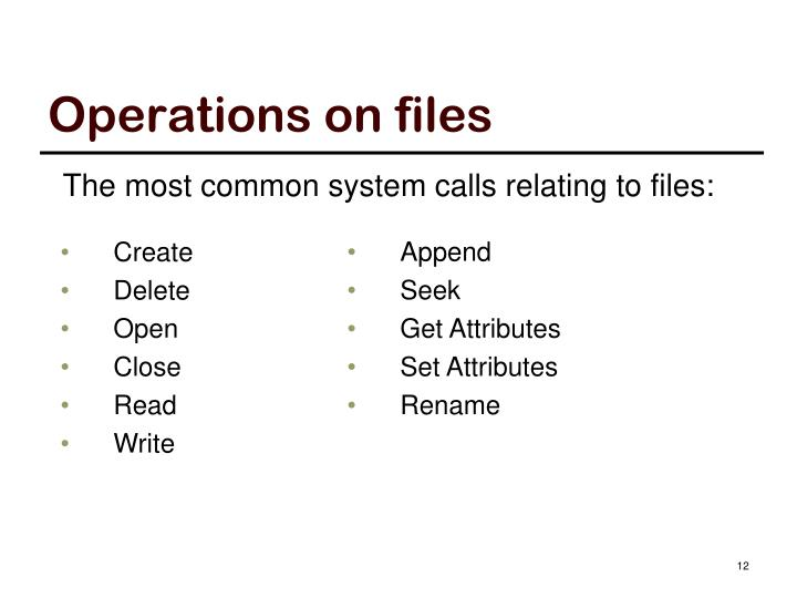 Operations on files