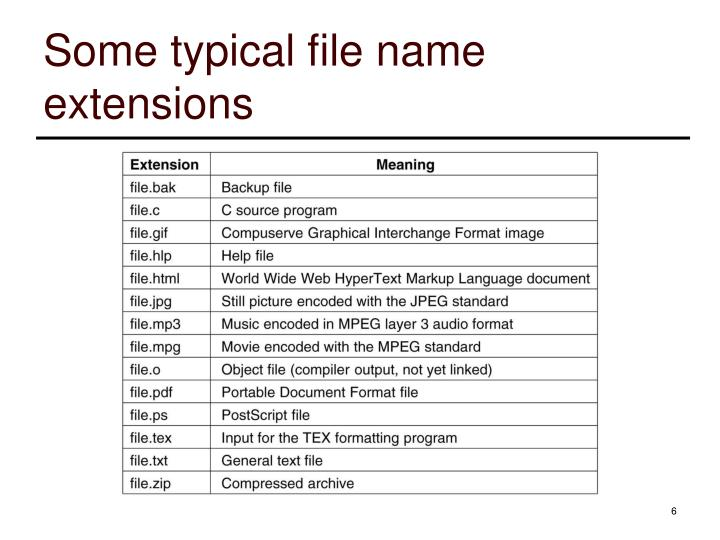 Some typical file name extensions