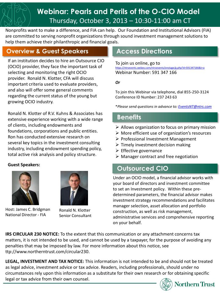 Webinar: Pearls and Perils of the O-CIO Model