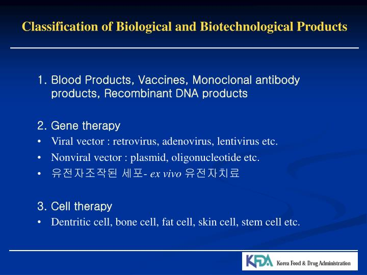 Classification of Biological and Biotechnological Products