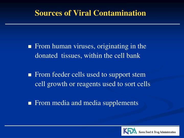 Sources of Viral Contamination