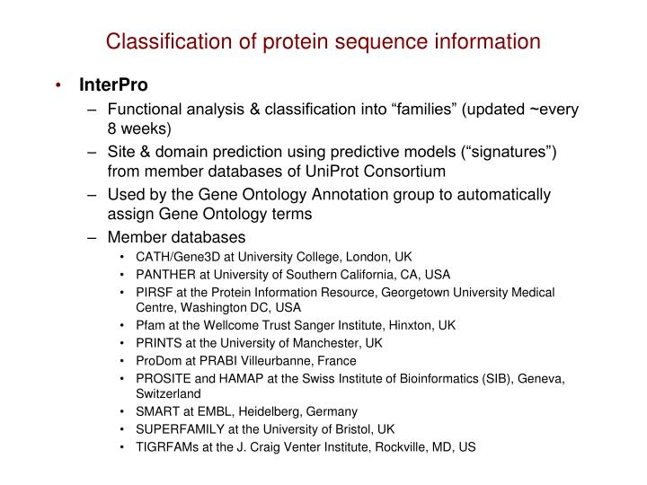 Classification of protein sequence information