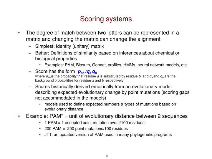 Scoring systems