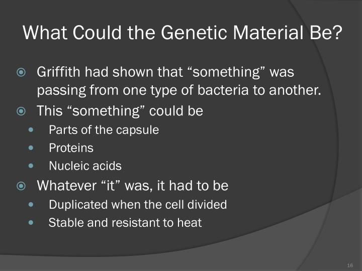 What Could the Genetic Material