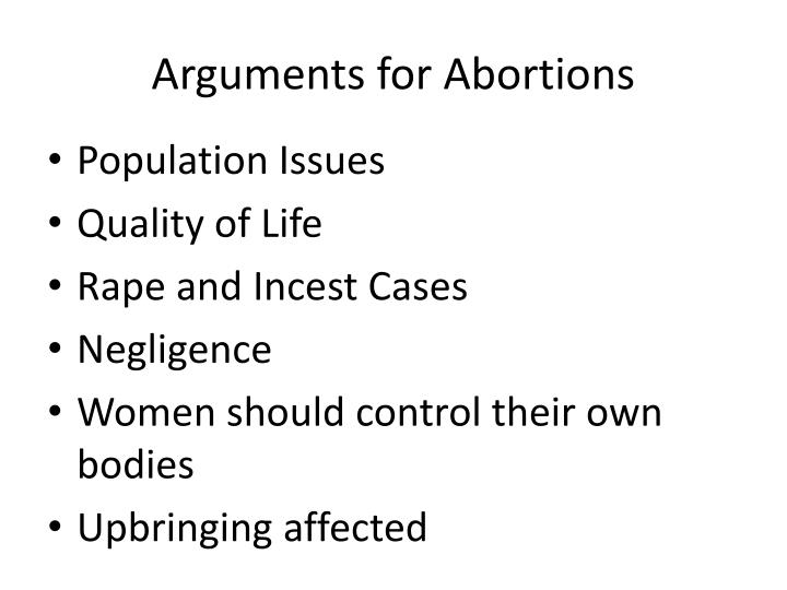 Arguments for Abortions