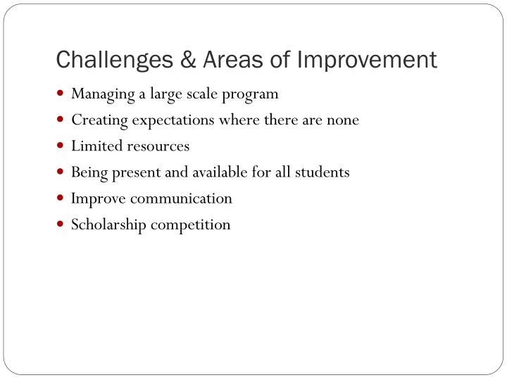 Challenges & Areas of Improvement