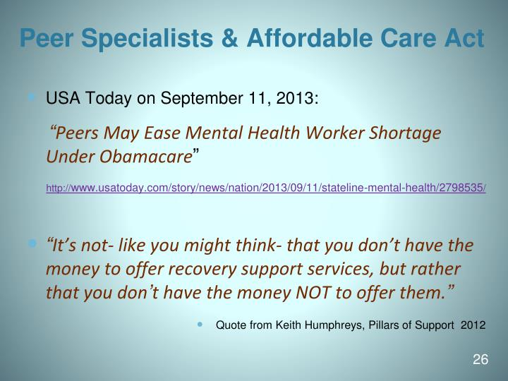 Peer Specialists & Affordable Care Act