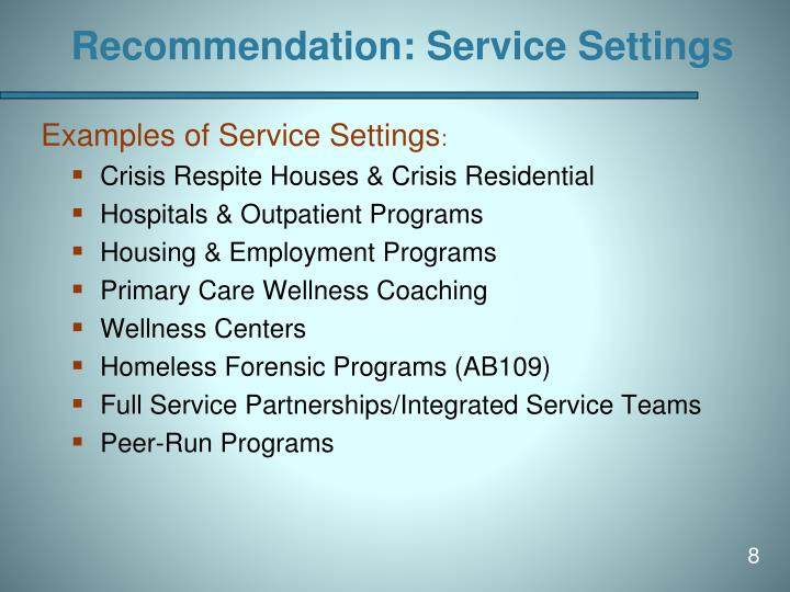 Recommendation: Service Settings