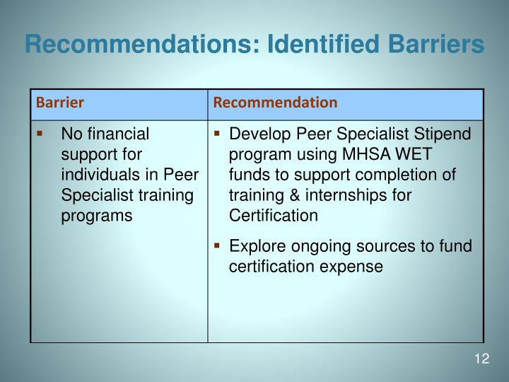 Recommendations: Identified Barriers