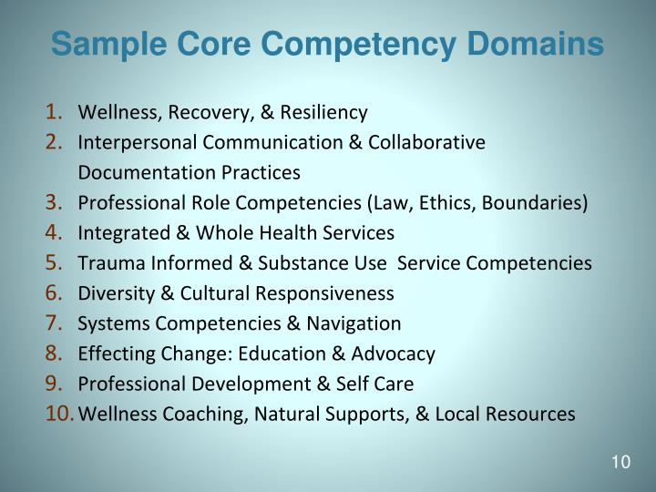 Sample Core Competency Domains