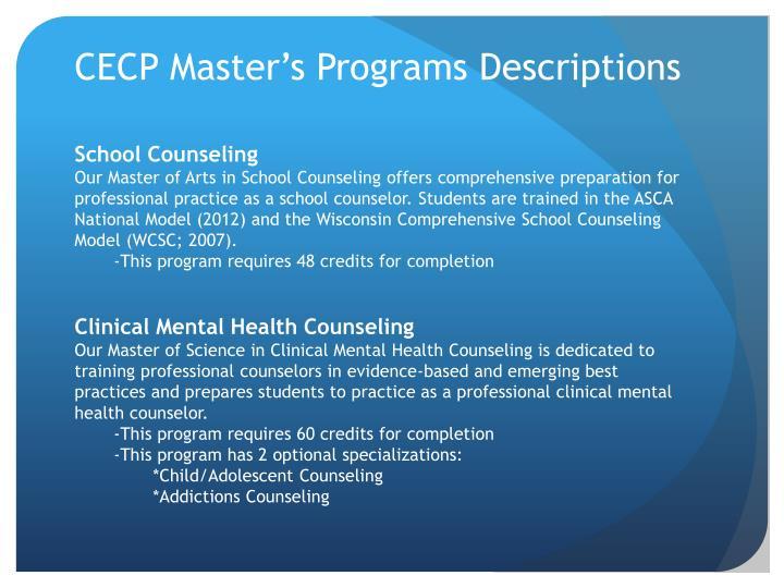 CECP Master's Programs Descriptions