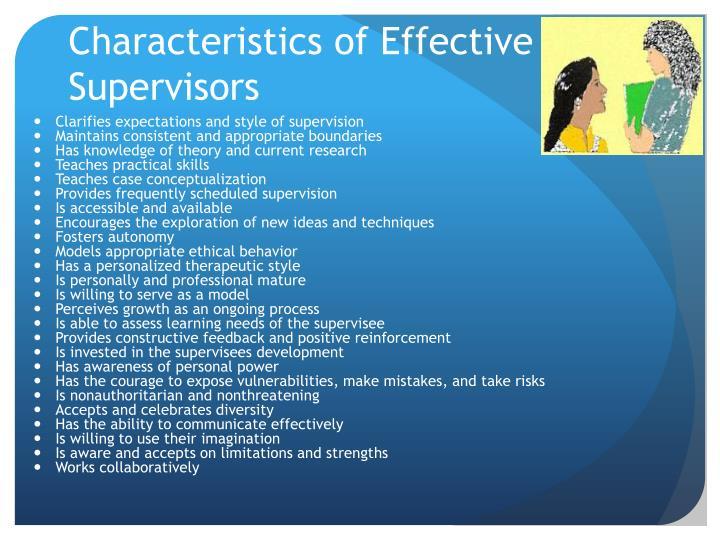 Characteristics of Effective Supervisors