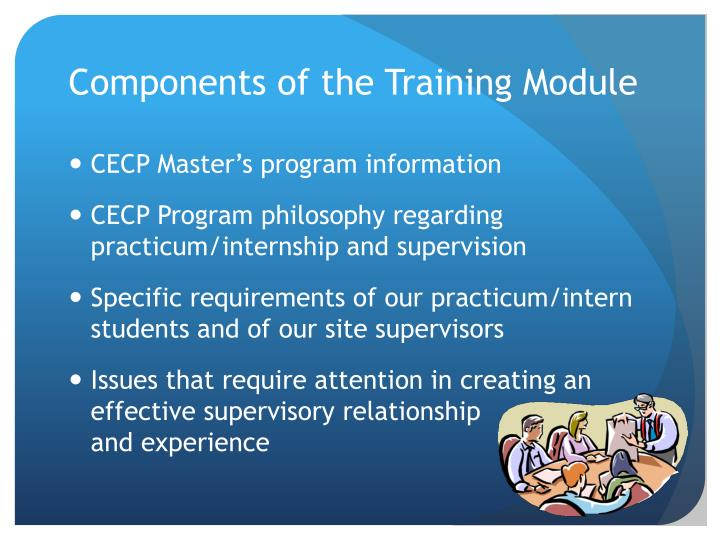 Components of the training module