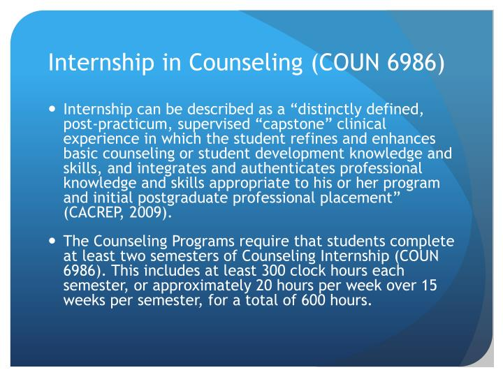 Internship in Counseling (COUN 6986)