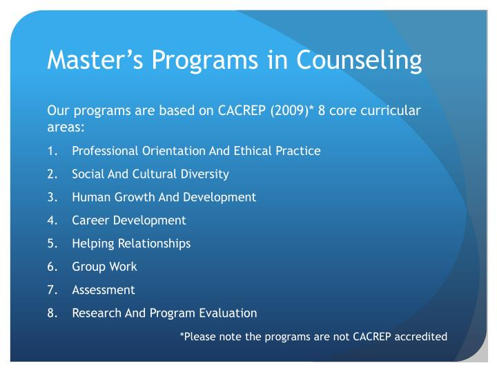 Master's Programs in Counseling