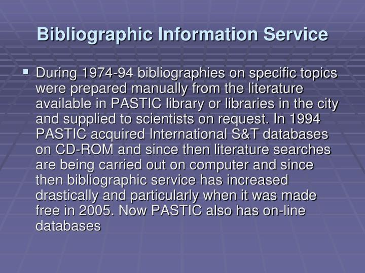 Bibliographic Information Service
