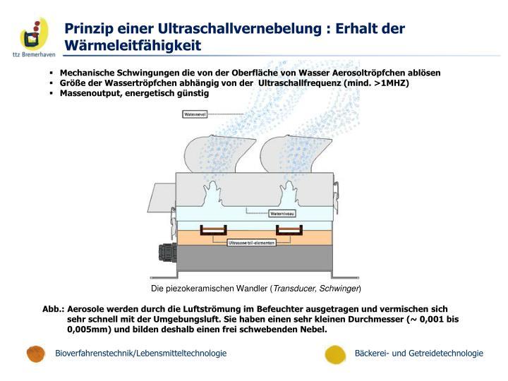 Prinzip einer Ultraschallvernebelung : Erhalt der Wärmeleitfähigkeit