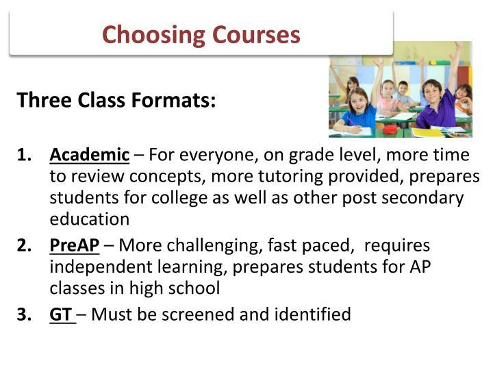 Choosing Courses