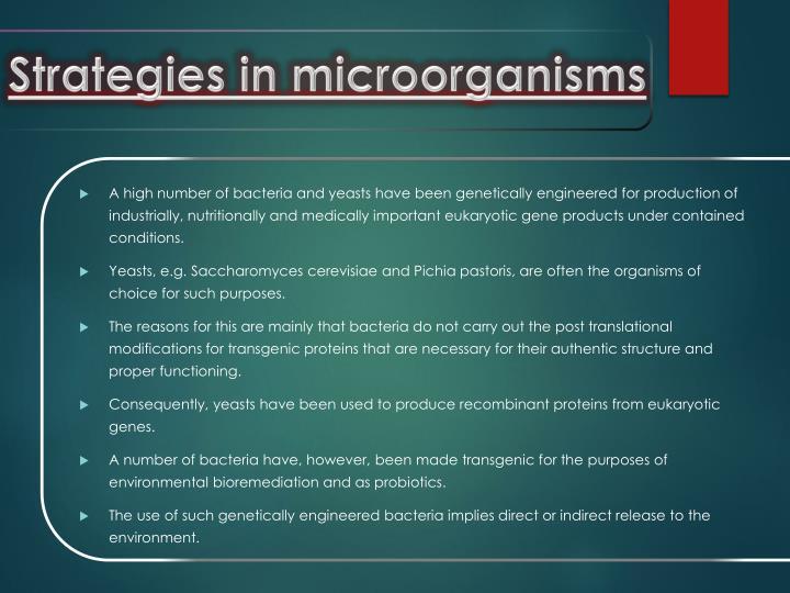 Strategies in microorganisms