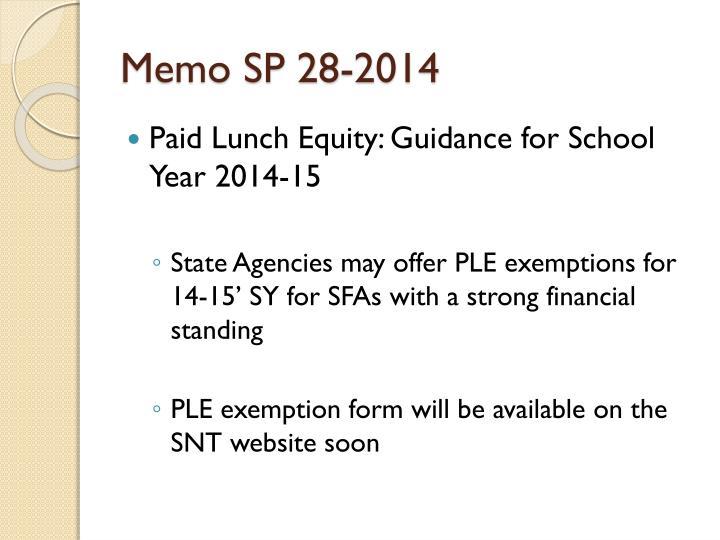 Memo SP 28-2014