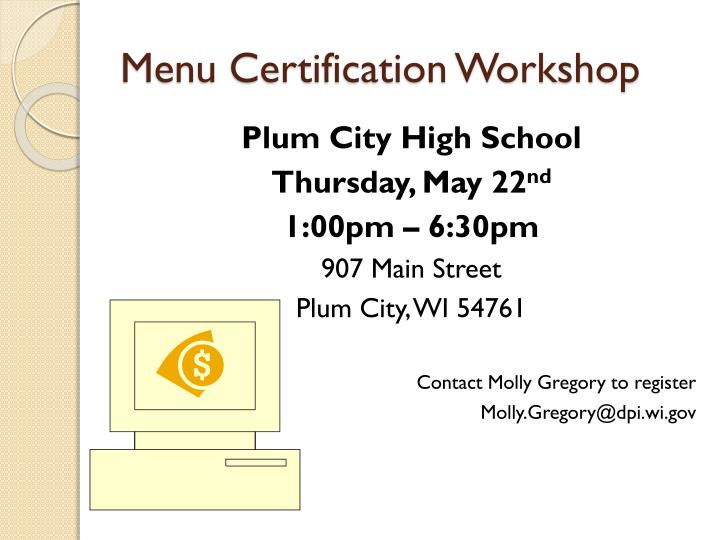Menu Certification Workshop