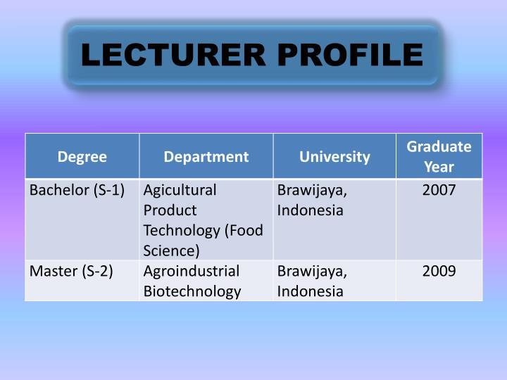 LECTURER PROFILE