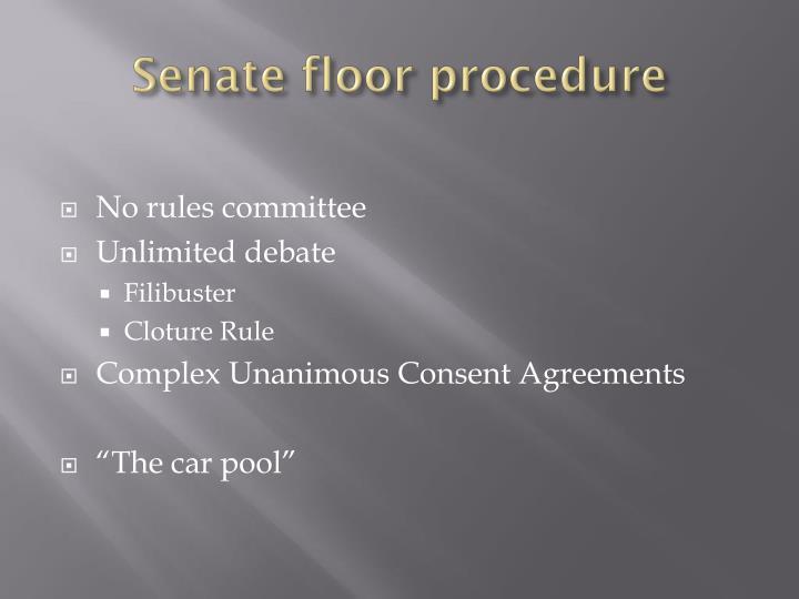 Senate floor procedure