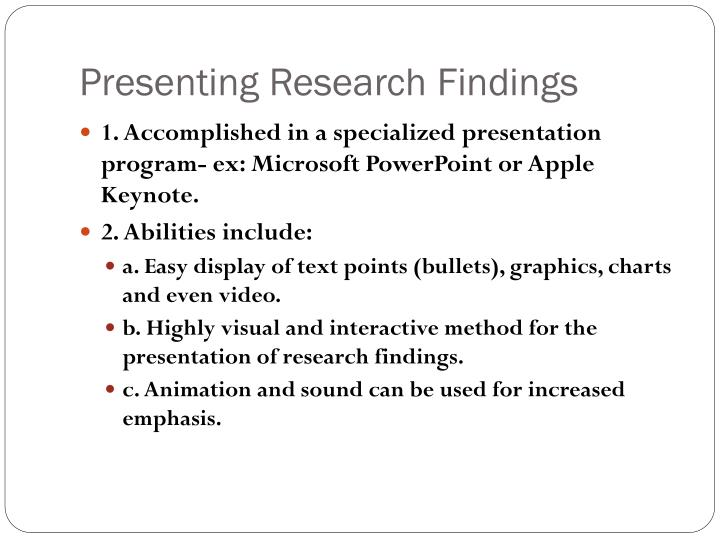 presenting research findings in a dissertation