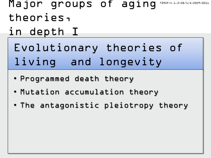 Major groups of aging theories,