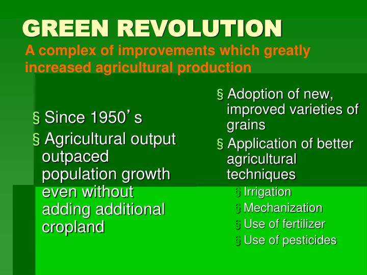 Adoption of new, improved varieties of grains
