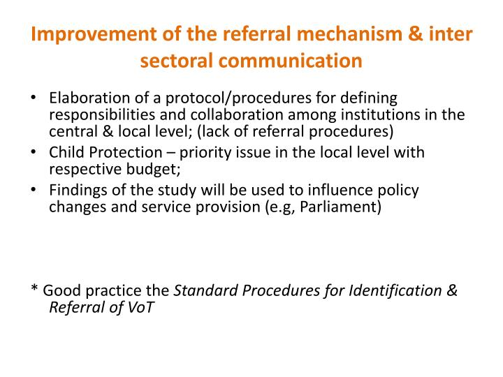 Improvement of the referral mechanism & inter