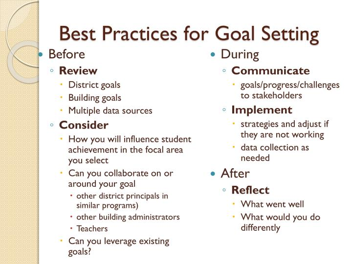 Best Practices for Goal Setting