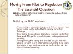 moving from pilot to regulation the essential question
