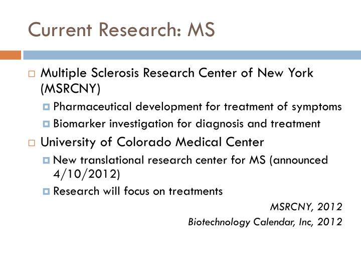 Current Research: MS