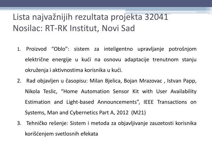 Lista najvažnijih rezultata projekta 32041