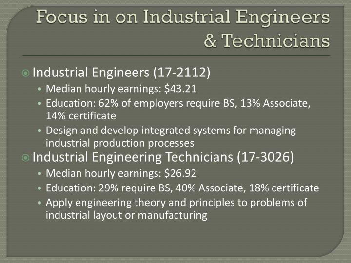 Focus in on Industrial Engineers & Technicians