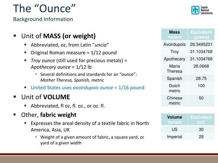 """The """"Ounce"""""""