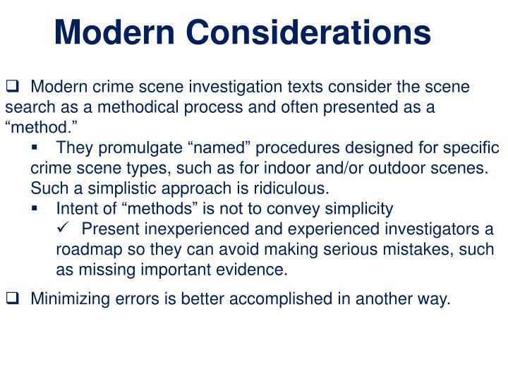 Modern Considerations
