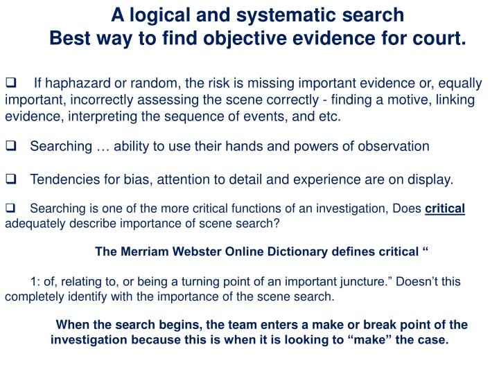 A logical and systematic search