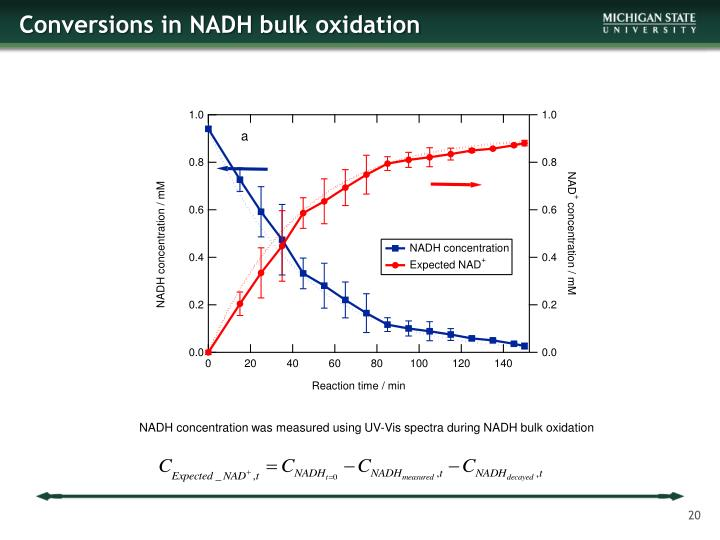 Conversions in NADH bulk oxidation