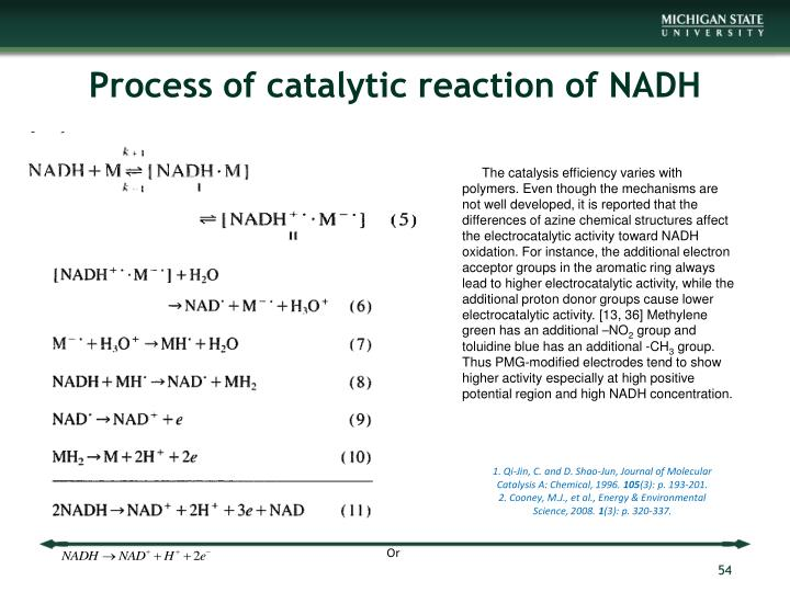 Process of catalytic reaction of NADH