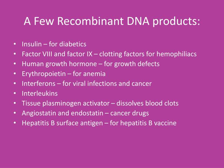 A Few Recombinant DNA products: