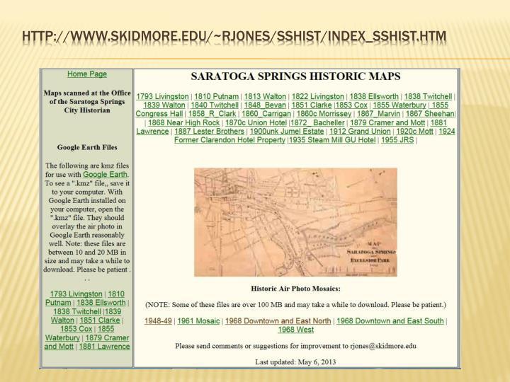 http://www.skidmore.edu/~rjones/SSHIST/index_sshist.htm